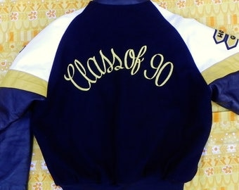 The Class of 90, men's letterman jacket, size medium