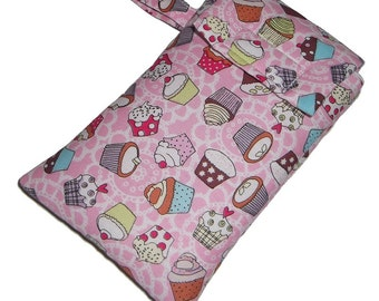 Baby Pink Cupcake Smart Phone Mobile Cellphone Ipod Gadget Case Pouch Sock PADDED