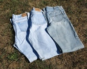 Jeans - Craft Denim Fabric - Lot of Three - Recycle - Upcycle - Reuse - Repurpose - Sewing - Quilting - DIY