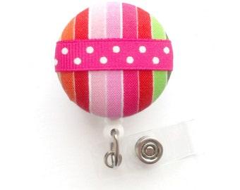 Candy Stripes Badge Holder - Registered Nurse Badge Holder - Badge Reels - Nurses Badge Holder - Teacher Badge - Medical Badge Holders - RN