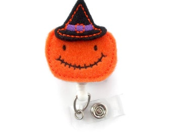 Pumpkin Witch - Teacher Badge Holder - Nurses Badge Holder - RN - Nursing Badge Holder - Teacher Badge Reel - RN Badge Clip - Halloween