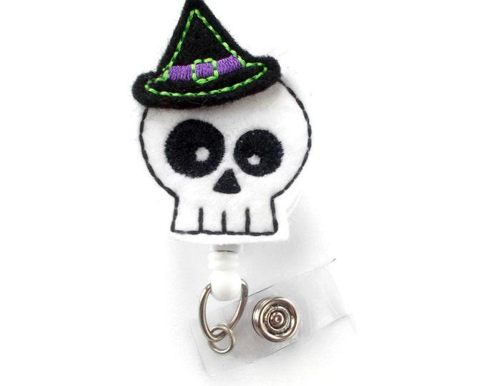 Skeleton Witch  - Teacher Badge Holder - Nurses Badge Holder - Halloween Badge - Nursing Badge Holder - Teacher Badge Reel - RN Badge Reel