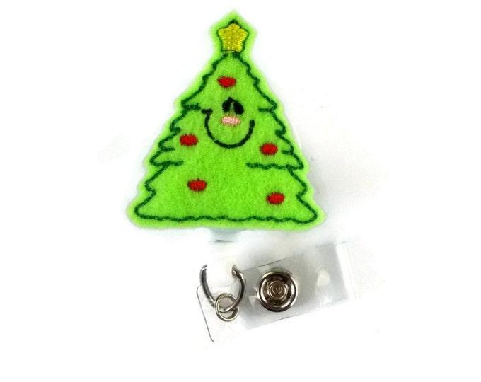 Smiling Christmas Tree - Cute Badge Holder - Nurses Badge Holder - Holiday Badge Holder - Nursing Badge Holder - Nurse Gift - Teacher Badge