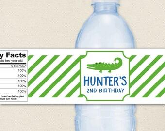 Alligator Party - 100% waterproof personalized water bottle labels
