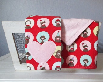 Sock Monkey Baby Girl Gift Set - Lovey and Burp Cloth