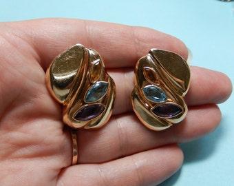 14k Multi Gemstone Earrings Puffed Hollow Earrings