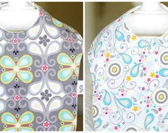 SALE-Set of Two Bibs, with Organic Bamboo Baby Terry Backing (Rhapsody Bop)