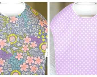 SALE-Set of Two Bibs, with Organic Bamboo Baby Terry Backing (Lilac Garden)