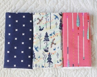 Set of Three Burp Cloths, Chenille, for a girl (Cotton and Steel)