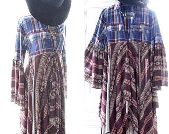 Blue gypsy soul kimono, Stevie Nicks style Gypsy coat, Bohemian duster, Fall festival Kimono Jacket, Boho Clothing, True rebel clothing Lg