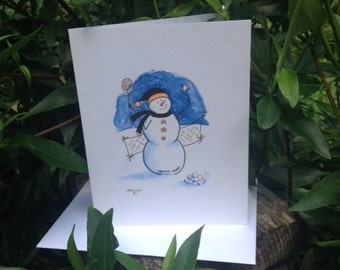 Tennis Star Snowman Note Cards