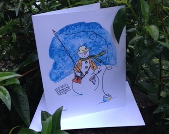 """Whimsical Fly Fishing Snowman Note Cards - """"I'd Still Rather Be Fishing"""""""
