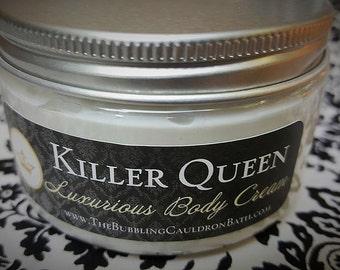 Killer Queen - Luxurious Body Cream - Tempting Jasmine - Dark Patchouli - Red Velvet Flower - Deadly Cream - Goth Cream -  Goth Lotion