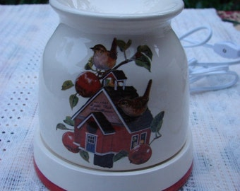 Wrens on a Red School House Electric Ceramic Tart Burner