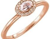 14kt Rose Gold Morganite & Diamond Unique Engagement Ring, Alternative Engagement Ring, Oval Morganite