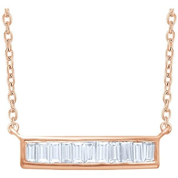 14kt horizontal baguette diamond bar necklace. Black Bedroom Furniture Sets. Home Design Ideas