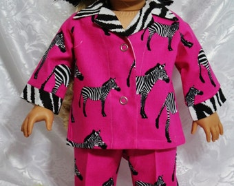 "ZEBRA Cottonl Doll Pajamas Fit 18"" Dolls  - Proudly Made in America"