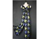 1970s Black / Lime / Blue Abstract Houndstooth Bell Bottom Jumper Jumpsuit