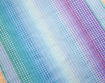Handwoven Blue and Pastel Rag Rug / Summer Colors 3 x 5 / Contemporary Cotton Rag Rug