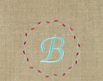 2 Monogrammed natural Linen Guest Towels