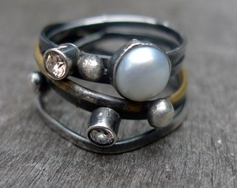 Unique silver ring with pearl and cubic zircon, silver wrap ring,silver and brass ring,