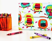 Bright Owls Deluxe Crayon Wallet, Ready to ship, Crayon organizer, Children's coloring toy, Art wallet, Holiday travel toy, Crayon case