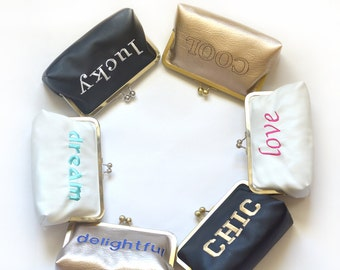 Quote Monogram Clutch Word Custom Wedding Personalized Clutches Message Statement Bags Purses Bridesmaids Gift Handbag Faux Leather