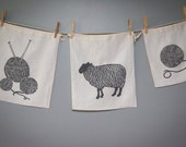 The Grey Collection - Knitting Bags,  Set of Three Organic Linen Drawstring Bags - Cloth Gift Bags