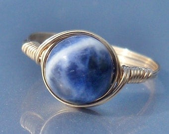 LG Sodalite 14k Yellow Gold Filled Wire Wrapped Ring
