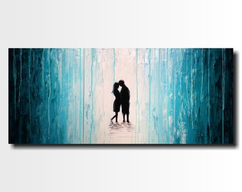 Silhouette Painting  - 24 X 54 -Art -by Artist JMJartstudio- Large Wall art-home decor -Unspoken-