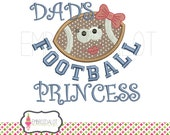 Girly football applique design. Cute football embroidery design, 3 sizes. Fun sport applique. Dads applique. Father and daughter applique.