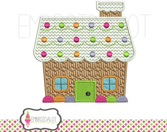 Gingerbread house machine embroidery design. Filled stitch with textures in 2 sizes. Fun Christmas embroidery.