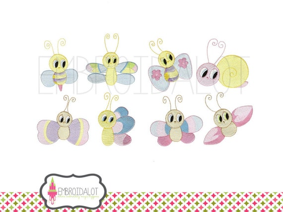 Bugs embroidery design. Set of 8 cutie pie bugs machine embroidery ...
