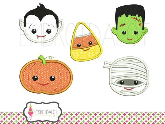 Halloween applique designs fun faces in cute