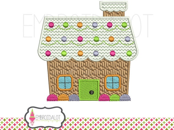 Gingerbread House Machine Embroidery Design Filled Stitch
