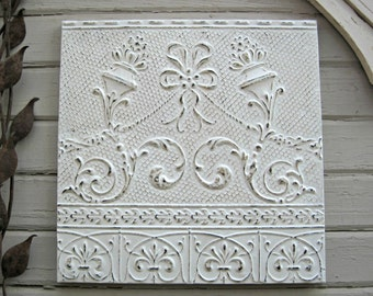 Vintage Ceiling Tin Tile. 2'x2'.  Circa 1908.  FRAMED & ready to hang. Oklahoma Architectural salvage. White tile. Wall decor. Wall Art.