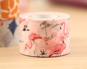 Mark's Japanese Washi Masking Tape / Flamingo 25mm wide for packaging, party deco, crafting