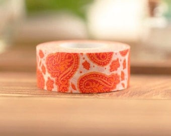 Mark's Japanese Washi Masking Tape - Paisley Pattern 15mm wide for packaging, party deco, crafting