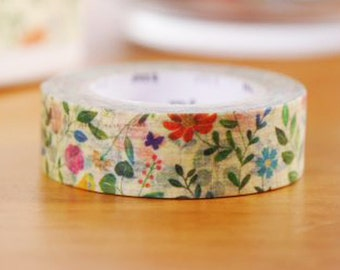 mt ex 2015 New Japanese Washi Masking Tape - Used to be Limited Edition - Water Color Flowers 15mm  wide for holiday packaging, party deco