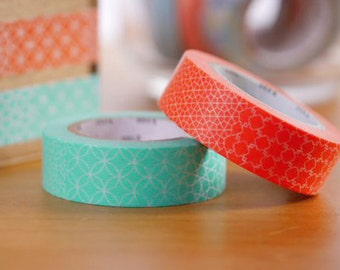 MT 2015 New - Japanese Washi Masking Tape / Green or Red Traditional Japanese Design for scrapbooking, packaging, party deco, card making