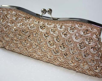 Bridal Clutch - hand beaded champagne satin with beads and rhinestone brooch