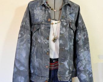 Mens Black XL Denim JACKET - Charcoal Black Dyed Upcycled Levi's Jean Trucker Jacket - Adult Mens Plus Size Extra Large (54 chest)