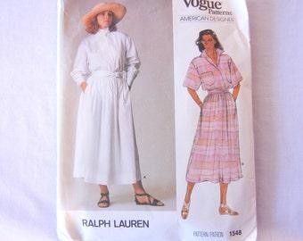 Vogue American Designer Ralf Lauren Shirtdress Top Skirt Sewing Pattern 1548, Maxi Length Size 10
