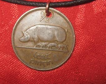 Authentic Ireland  Irish Celtic Pig/Harp Coin Pendant Necklace