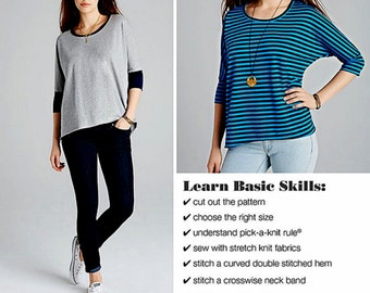 A Learn to Sew Stretch Knit Tops Pattern, Easy Pullover Tops Pattern, Sz 4 to 26, Simplicity Sewing Pattern 1062