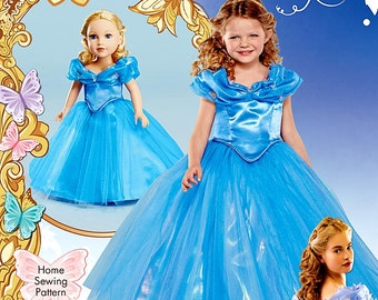 Dolly and Me Cinderella Costume Pattern, 18 inch Dolly and Me Princess Dress Pattern,  Sz 3 to 8, Simplicity Sewing Pattern 1028