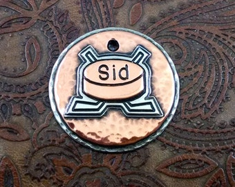 Handmade Hockey Puck Sticks ID Tag,Dog ID Tag,Custom Pet Collar Tag, Dog Tag for Dogs Hockey