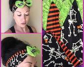 Halloween Bandana Head Wrap Skeleton Stripes Orange Black Green Lace