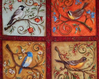 Paris Song Bird Fabric Quilt Panel