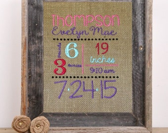 Custom embroidered burlap birth announcement- 8x10 girl version